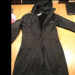 KENNETH COLE NEW YORK BLACK HOODTRENCH COAT SIZE S